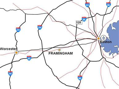 regional map showing Framingham roads and rail connections to Boston and Logan Airport