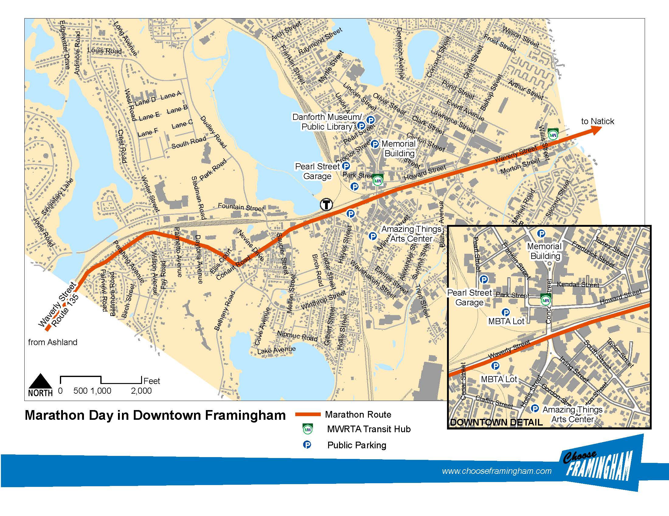 Map of the marathon's route through framingham including places to park