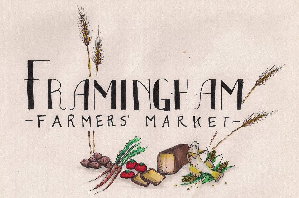 Logo for the Framingham farmers market. white background w/ black text & wheat stalks and vegetables