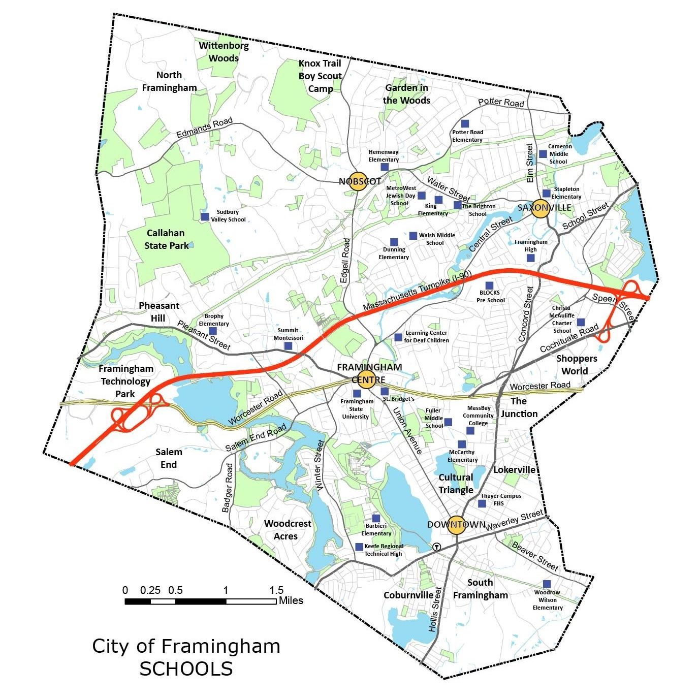 map of City of Framingham schools