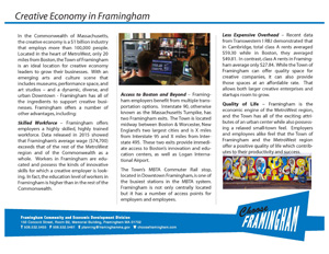 image of a Fact Sheet on the Framignham Creative Economy