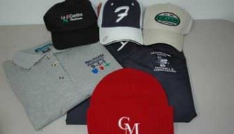 image of t-shirts, hats, and polo shirts with custom embroidery and logos