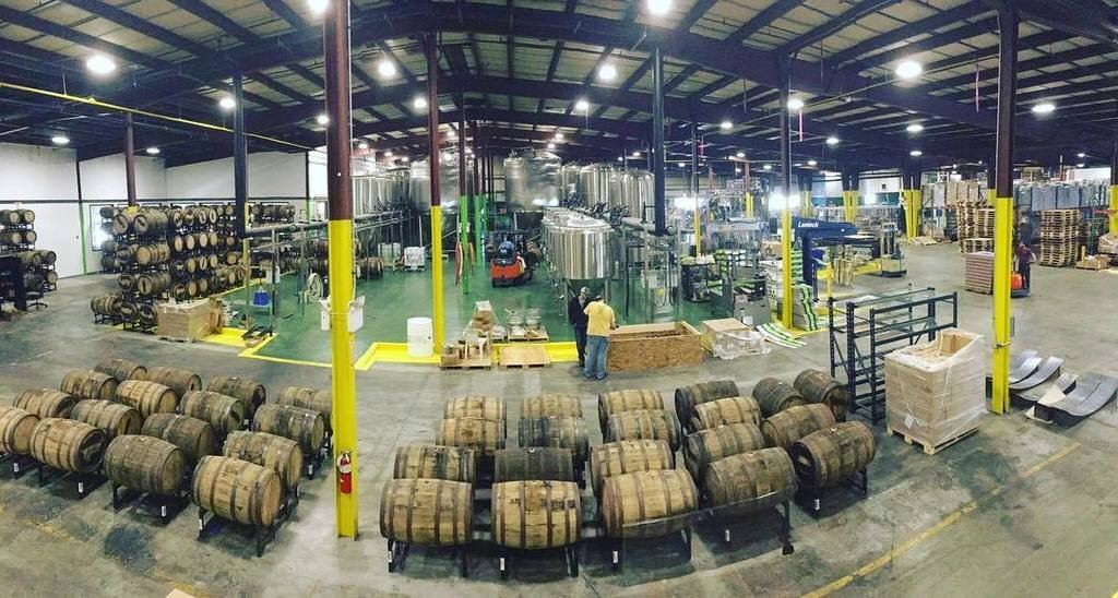 Jack's Abby warehouse with barrels