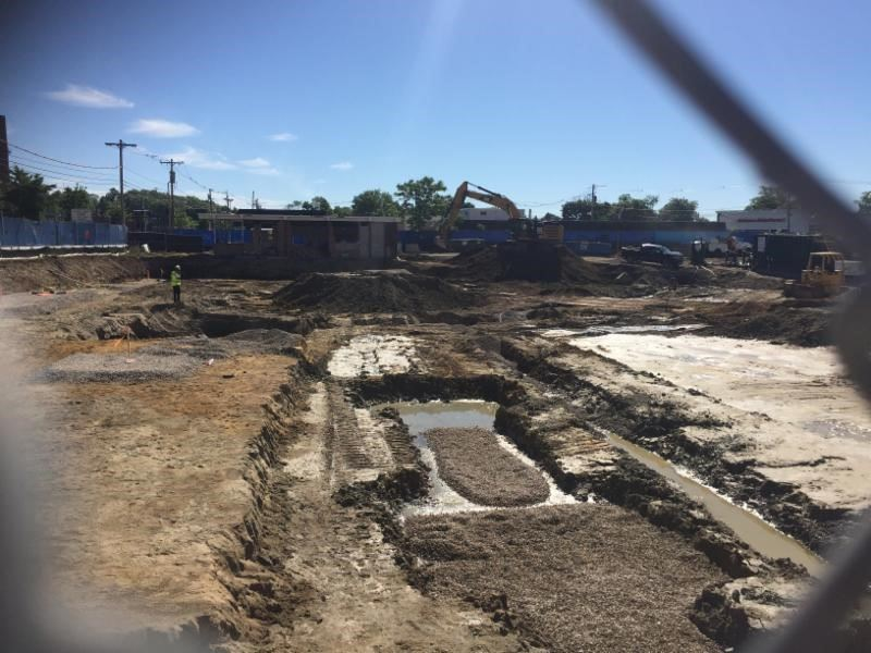 Image of the excavation underway for a new apartment complex at 266 Waverly Street - June 2018